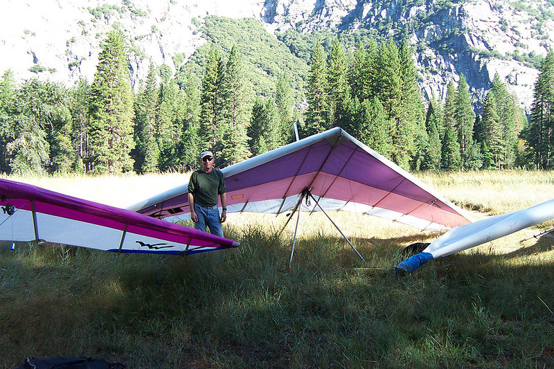 On the ground, it was a short but really fun flight. I'm soaked from the knees down. I didn't land in the wet spots, but the tall grass was wet and I got soak carrying the glider in.