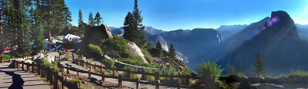 A pano of the gliders and Half Dome. Photos by Helen