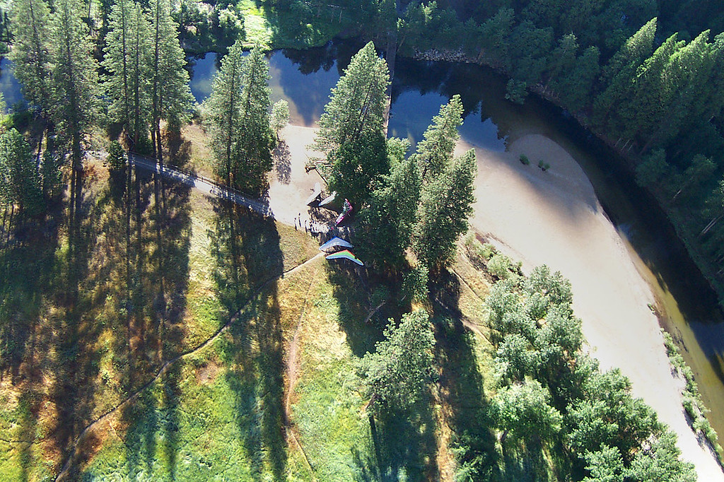 One last shot from the air shows the gliders parked by the trees. You can make out the Swinging Bridge that crosses the river above the gliders.