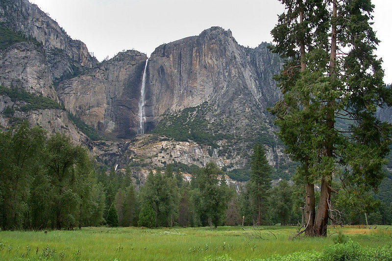 Another shot of Yosemite Falls from the meadow. This place will make a great LZ, it will be cool landing here.