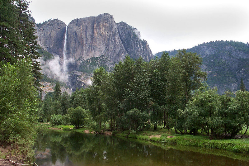 This is looking at Yosemite Falls from the Swinging Bridge that leads to Leidig Meadow.