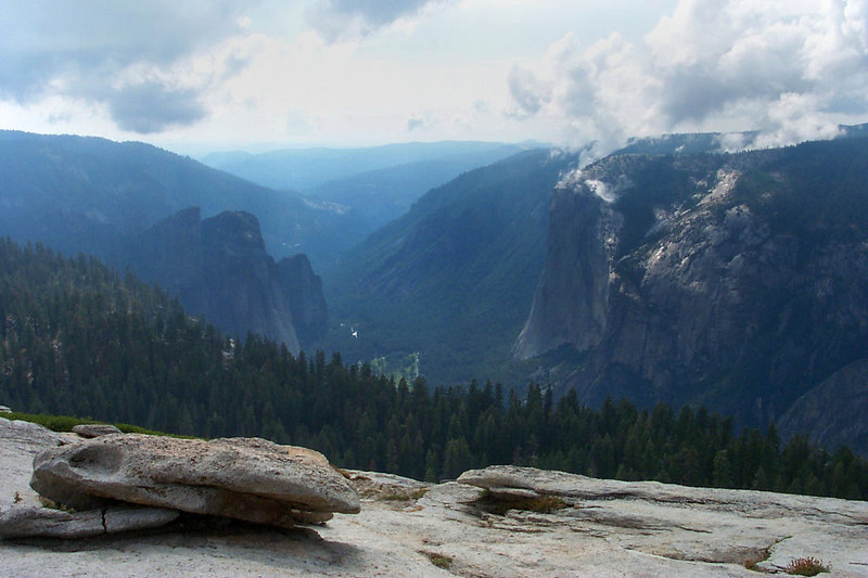 Looking down the valley at Cathedral Rocks and El Capitan.