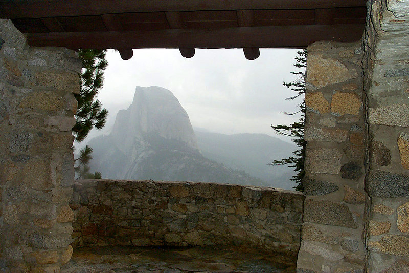 We drove up to Glacier Point to check out view and lauch site. This is a view of Half Dome from inside the stone hut. We hung out here to stay out of the rain while talking to other pilots that were there.