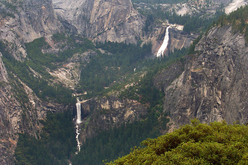 Zoomed in on the falls. Nevada Falls is about 600' tall and Vernal Falls is 320'.