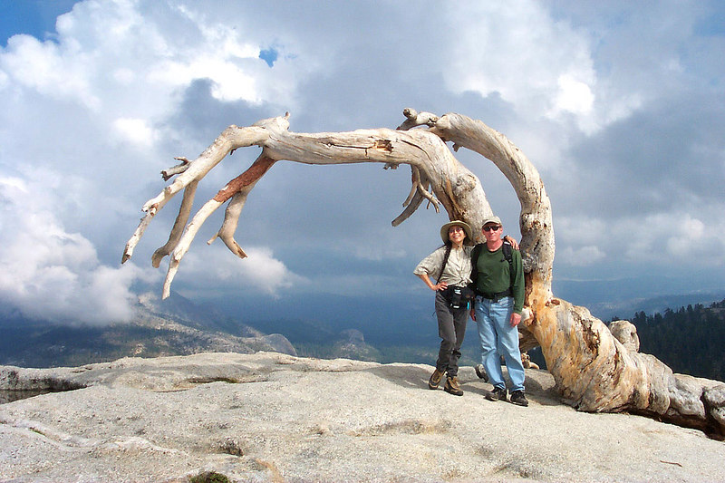 Here we are on the summit with Ansel's Jeffrey pine. A few months after this photo was taken, this tree fell over.