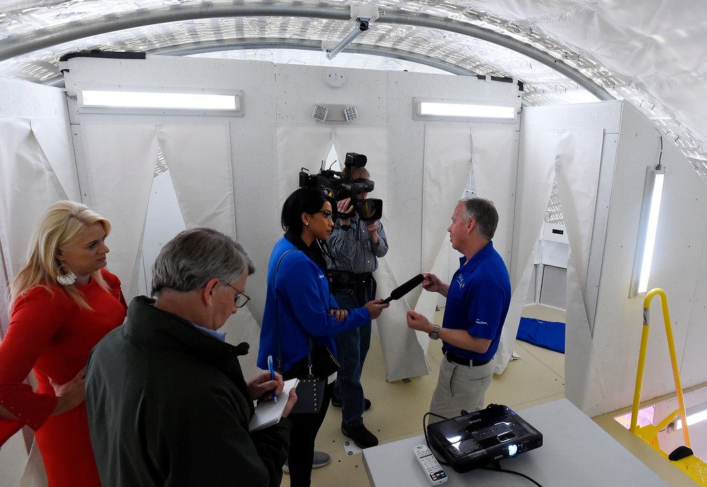 . LOUISVILLE, CO - April2, 2019:  Steve Lindsey, right, Vice President of SNC\'s Space Exploration Systems and former astronaut, talks to the media about the Gateway project. Sierra Nevada Corporation (SNC) gave a tour of its inflated space habitat, a prototype for NASA�s moon-orbiting Gateway concept. The habitat is one portion of SNC�s complete Gateway Architecture, and includes sleeping space, stairs, an Astro Garden® system and exercise equipment.  (Photo by Cliff Grassmick/Staff Photographer)