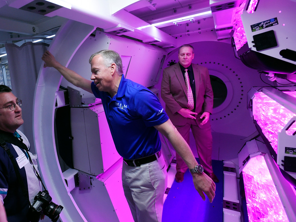 . LOUISVILLE, CO - April2, 2019:   Steve Lindsey, center, Vice President of SNC\'s Space Exploration Systems and former astronaut, talks to the media about the Gateway project. Sierra Nevada Corporation (SNC) gave a tour of its inflated space habitat, a prototype for NASA�s moon-orbiting Gateway concept. The habitat is one portion of SNC�s complete Gateway Architecture, and includes sleeping space, stairs, an Astro Garden® system and exercise equipment.  (Photo by Cliff Grassmick/Staff Photographer)