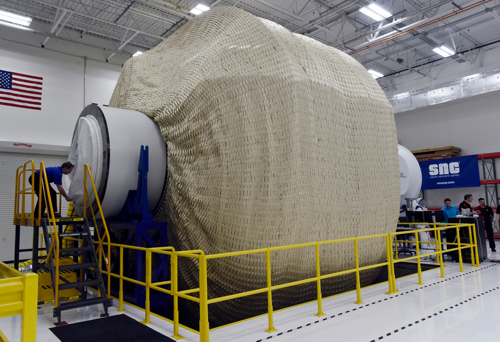 . LOUISVILLE, CO - April2, 2019:  Louisville\'s Sierra Nevada Corporation\'s inflated space habitat, a prototype for NASA�s moon-orbiting Gateway concept. Sierra Nevada Corporation (SNC) gave a tour of its inflated space habitat, a prototype for NASA�s moon-orbiting Gateway concept. The habitat is one portion of SNC�s complete Gateway Architecture, and includes sleeping space, stairs, an Astro Garden® system and exercise equipment.  (Photo by Cliff Grassmick/Staff Photographer)