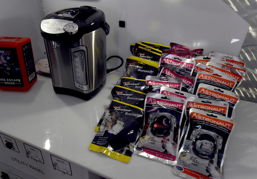 . LOUISVILLE, CO - April2, 2019:  Astronaut food on display. Sierra Nevada Corporation (SNC) gave a tour of its inflated space habitat, a prototype for NASA�s moon-orbiting Gateway concept. The habitat is one portion of SNC�s complete Gateway Architecture, and includes sleeping space, stairs, an Astro Garden® system and exercise equipment.  (Photo by Cliff Grassmick/Staff Photographer)