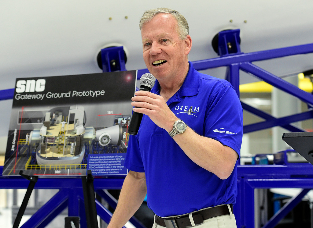 . LOUISVILLE, CO - April2, 2019:  Steve Lindsey, Vice President of SNC\'s Space Exploration Systems and former astronaut, talks about the Gateway project. Sierra Nevada Corporation (SNC) gave a tour of its inflated space habitat, a prototype for NASA�s moon-orbiting Gateway concept. The habitat is one portion of SNC�s complete Gateway Architecture, and includes sleeping space, stairs, an Astro Garden® system and exercise equipment.  (Photo by Cliff Grassmick/Staff Photographer)