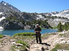 SnowDude by Timberline Tarns, with Mt Agassiz (L), Bishop Pass