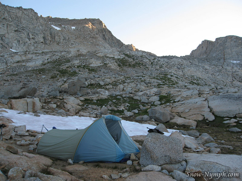 Our camp, and the start of our dayclimb of Mt Sill