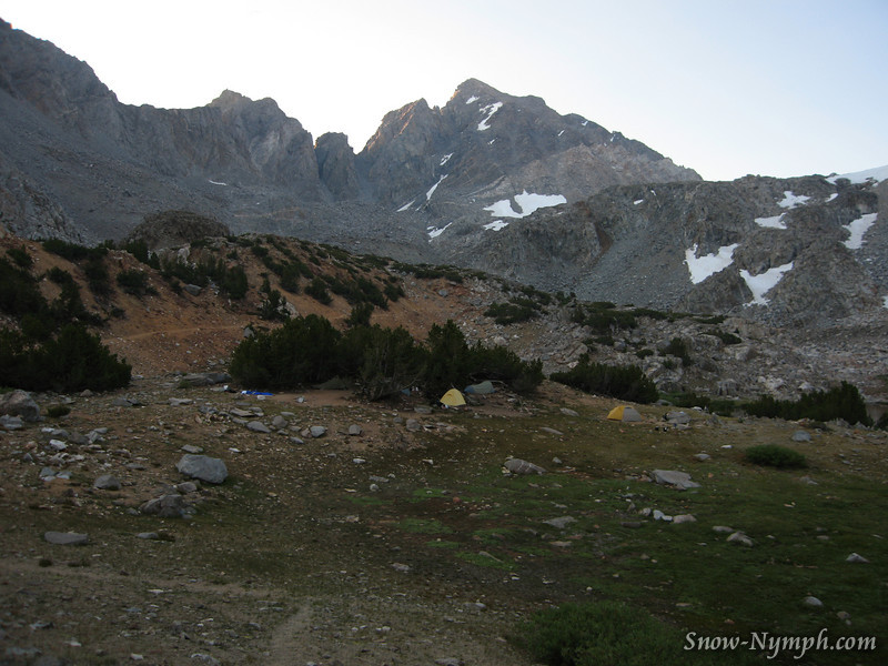 Agassiz and our camp at Bishop Lakes.