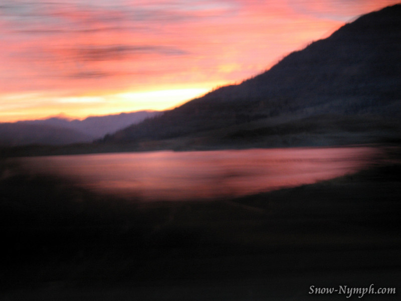 Sunrise over Lake Isabella as I was driving.  Blurry but pretty colors