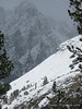 Skier tracks on north slope of Chocolate Peak