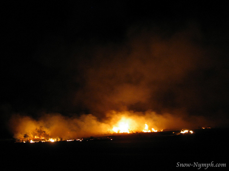 Fire on Hwy 14 by Little Lake . . . at the north end it looked like a car went off the road, wind was blowing south