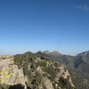 Big rock (L), East Lamont (trees), Spanish Needle (3 bumps) and Owens Peak (R)