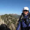 Cori on Lamont Peak, with Spanish Needle behind (was there a few hours before)