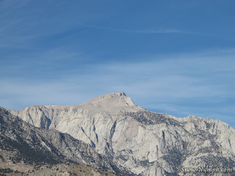 Lone Pine Peak has a monkey face, taken from Horseshoe Meadow Road