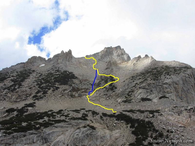 Our route (yellow), where we should have gone (blue)       (photo ctsy of Robin Watson)