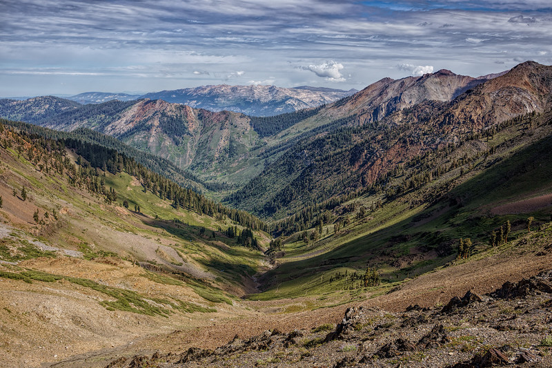 Timber Gap and the Mineral King Valley from Farewell Gap, July 19, 2015.