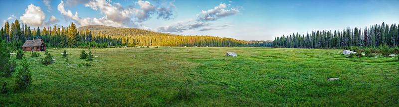 Hockett Meadow, Hockett Meadow wilderness ranger station panorama, August 8, 2017.