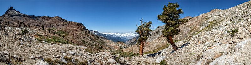 Monarch Creek drainage panorama looking West over Mineral King to the Central Valley, September 9, 2010.