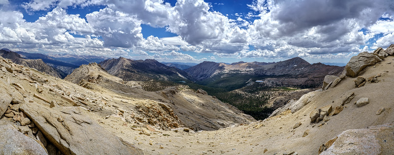 Franklin Pass, panoramic photograph,  view east to Whitney Crest, July 19, 2018.