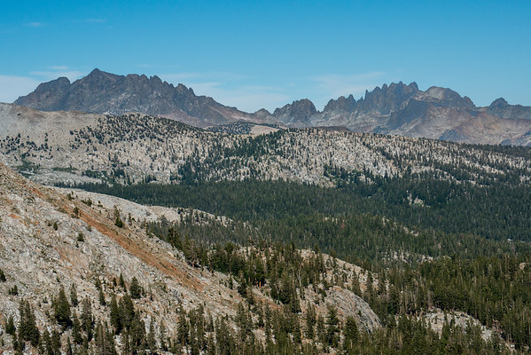ansel adams wilderness; california; sierra national forest; sierra nevada A view of (right to left) the Minarets, Mt. Ritter, and Banner Peak from Fernandez Pass