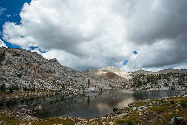 ansel adams wilderness; california; lake; rutherford lake; sierra national forest; sierra nevada Only a few miles from the trailhead, Rutherford Lake is apparently a popular destination. The t-storm kept backpackers at bay and we didn't see anyone while we visited.