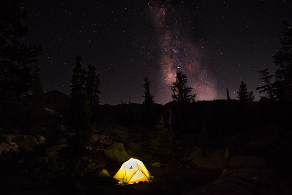 california; campsite; sierra nevada; yosemite national park Sharon found warmth in the tent while I framed this shot of the Milky Way.