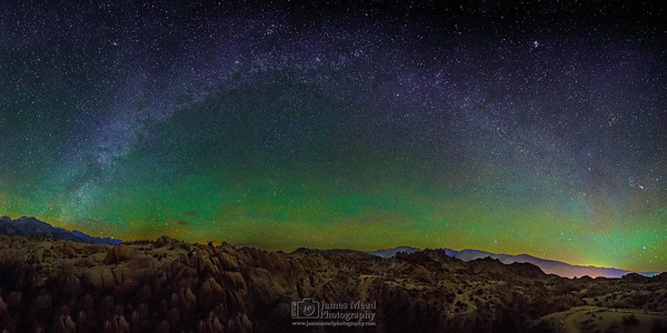 """""""Sierra Winter Arch,"""" Winter Milky Way Arch over the Alabama Hills, Sierra Nevada Mountains and Owens Valley, Sierras Nevada Mountains, Lone Pine, California"""