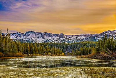 """Sunset over Crystal Crag and Twin Lakes,""  Inyo National Forest, Mammoth Lakes, California"