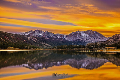 """Twin Skies,"" June Lake, Carson Peak and San Joaquin Mountain at Sunset, Inyo National Forest, Sierra Nevada Mountains, California"