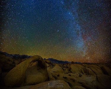 """Sierra Starlight,"" The Winter Milky Way over Mobius Arch and the Sierra Nevada Mountains, Alabama Hills, Lone Pine, California."