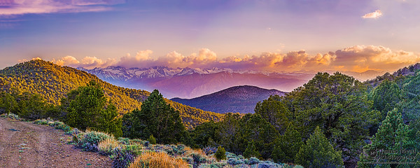 """Heaven's Reach ,"" The Sierra Crest and the Eastern Sierra Nevada Mountains at Sunset, White Mountains, Inyo National Forest, California"