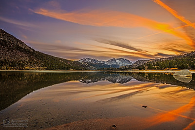 """Last Light over the Mountain Mirror,"" June Lake, Carson Peak and San Joaquin Mountain, and June Mountain at Sunset, Inyo National Forest, Sierra Nevada Mountains, California"