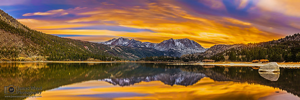 """Reflector,"" Sunset over Carson Peak, San Joaquin Mountain and June Lake, Sierra Nevada Mountains, California"