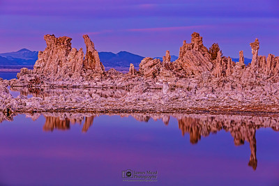 """Tufa Mirror,"" Mono Lake Tufas at Dusk, Mono Lake, Sierra Nevada Mountains, California"