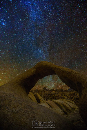 """""""Window to the Milky Way,"""" The Winter Milky Way through Mobius Arch, Alabama Hills, Lone Pine, California"""