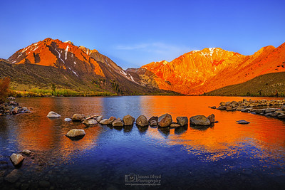 """Fire on the Mountain,"" Convict Lake Sunrise, Convict Lake, Mount Morrison, Mono Jim Peak (Mini Morrison) and Laurel Mountain, Inyo National Forest, Sierra Nevada Mountains, Californiaeak (Mini Morrison) and Laurel Mountain,Inyo National Forest, Sierra Nevada Mountains, California"