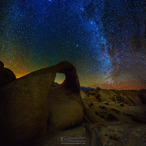 """Eroded Starlight,"" Mobius Arch, the Milky Way and the Sierra Nevada Mountains, Alabama Hills, Lone Pine, California"