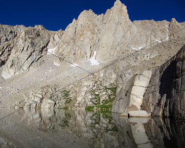 Mt. Irvine reflected in Meysan Lake.  I had the lake all to myself (except for one marmot) for a whole afternoon and night.  Sleeping on a ledge above the lake, all alone, made this a very special over-night backpacking trip.