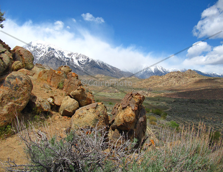 A wind whipped Sierra as seen from the Butterfield Boulders, Bishop, CA.