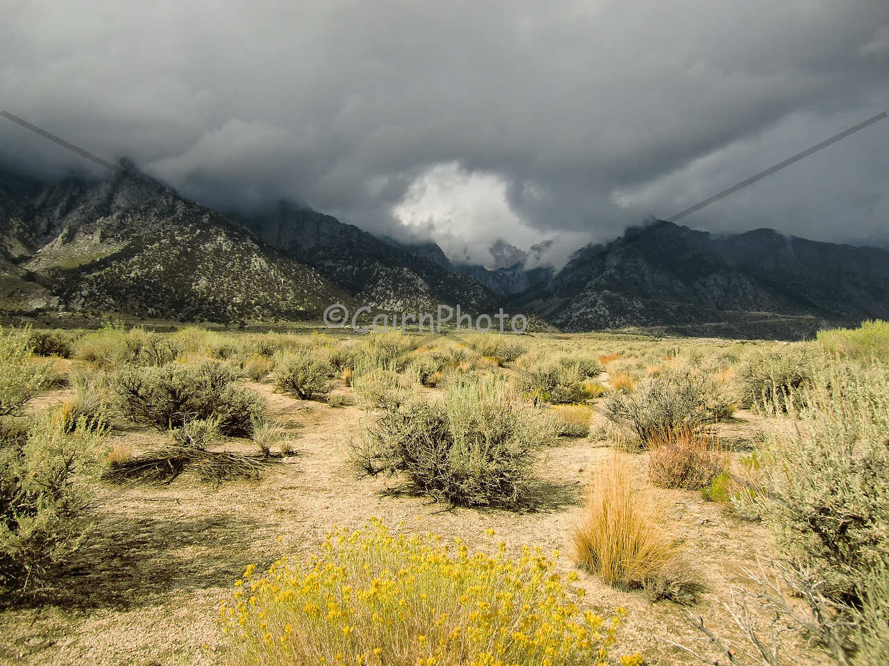A stormy Mt. Whitney from the floor of Owens Valley.