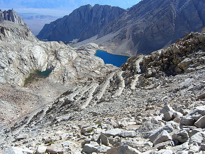 "These are the famous ""99 switchbacks"" on the Mt. Whitney trail."