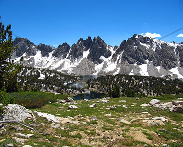 4th of July backpacking trip to Kearsarge Pass.  We had this awesome view of the Kearsarge Pinnacles and Kearsarge Lakes.