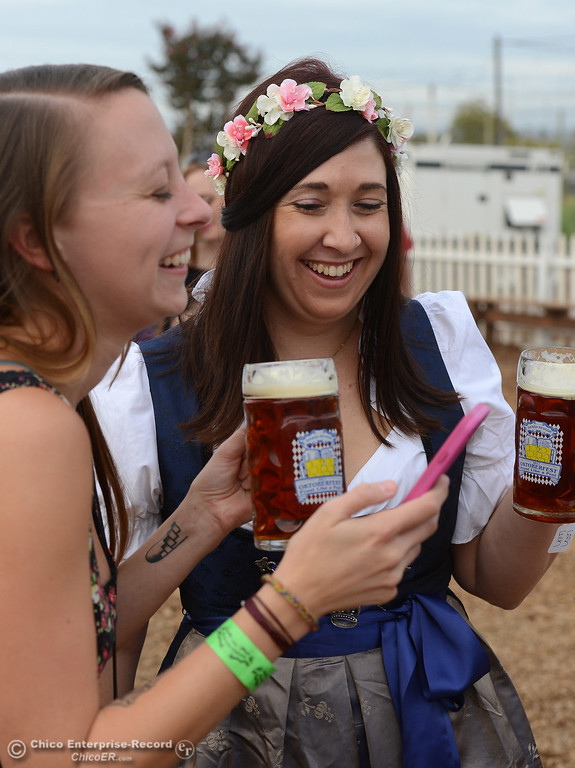 . Rachel Rhyme and Colleen Ehrhart as Sierra Nevada Brewing Co. holds its first of four Oktoberfest celebrations Friday, Sept. 29, 2017, in Chico, California. (Dan Reidel -- Enterprise-Record)