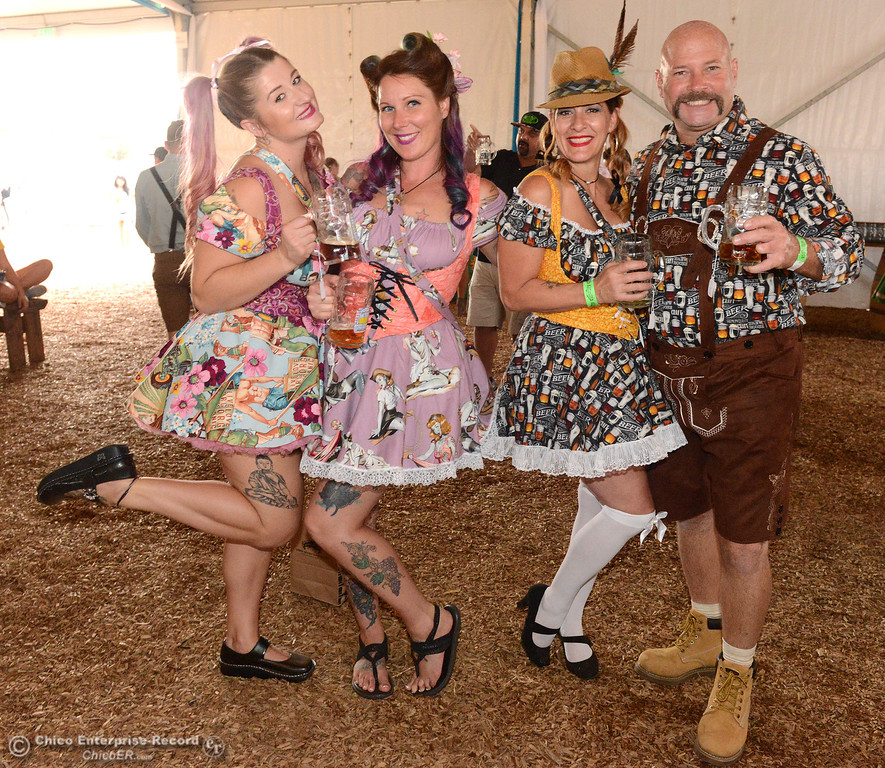 . Left to right, Mia Wilmoth, Katie M\'Lady, Tarrie Wilmoth and Ron Piper pose for a photo as Sierra Nevada Brewing Co. holds its first of four Oktoberfest celebrations Friday, Sept. 29, 2017, in Chico, California. (Dan Reidel -- Enterprise-Record)
