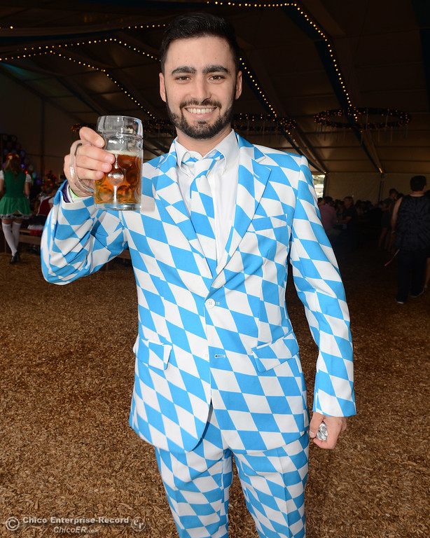 . Dan Carlson said he found the suit on an Oktoberfest clothing website and figured he would stand out from those clad in lederhosen. Sierra Nevada Brewing Co. holds its first of four Oktoberfest celebrations Friday, Sept. 29, 2017, in Chico, California. (Dan Reidel -- Enterprise-Record)